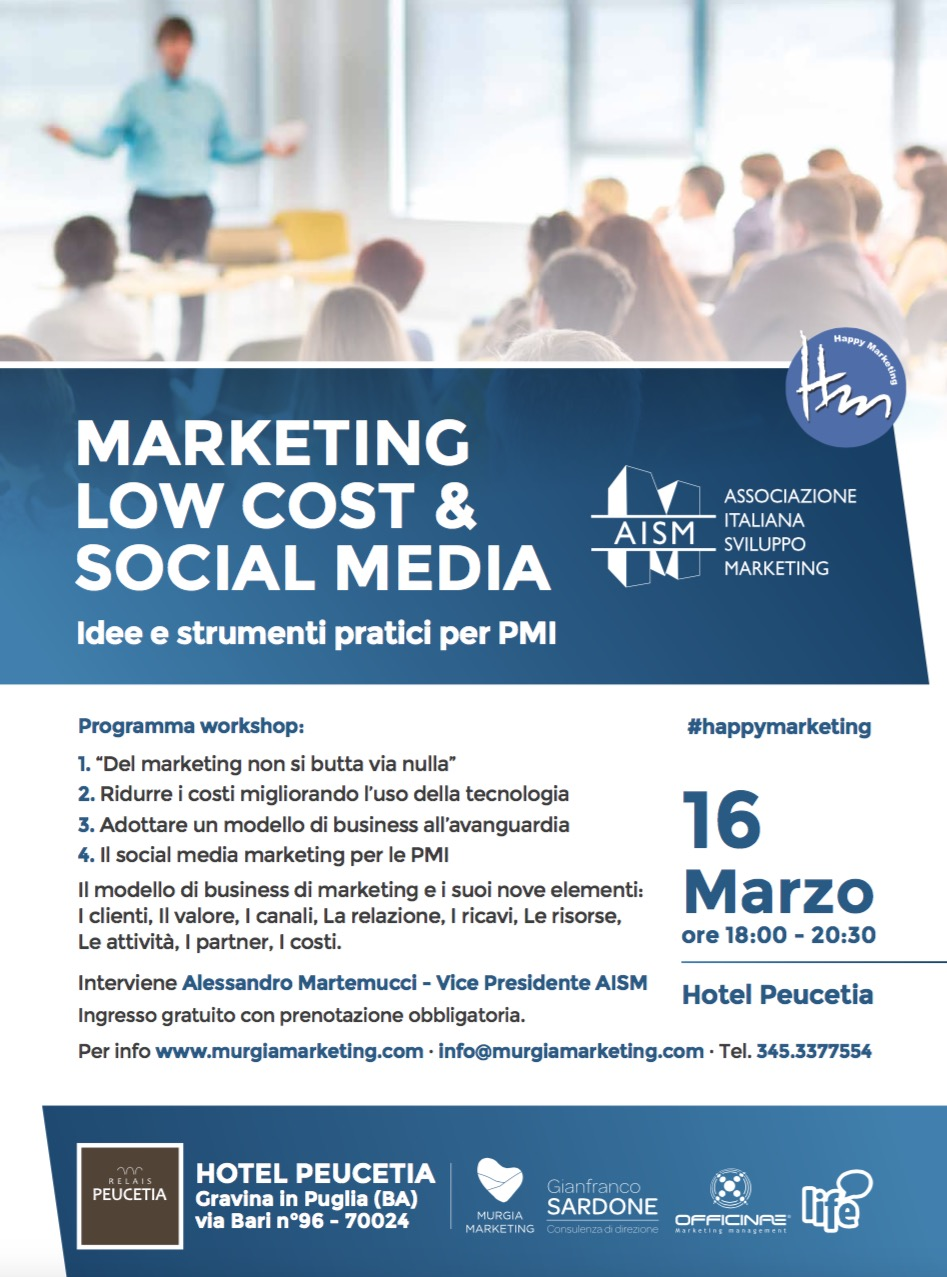 locandina marketing low cost e social media