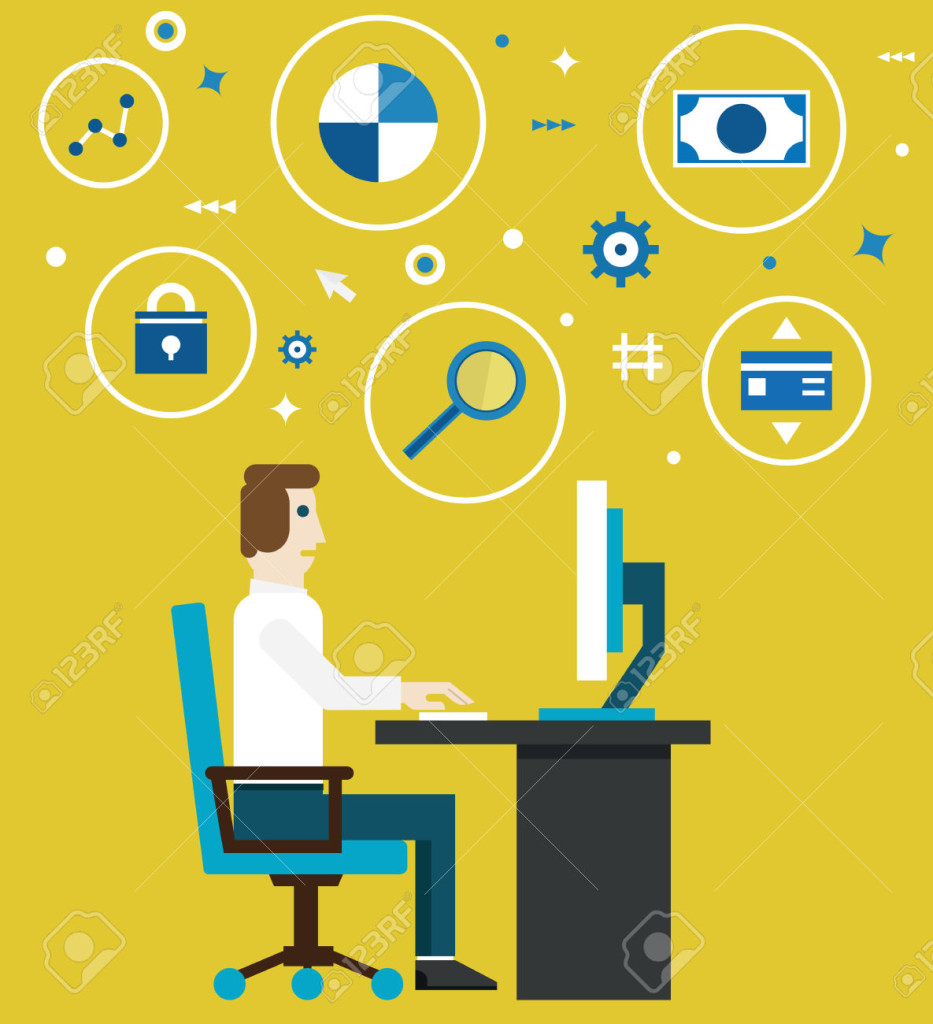 Vector illustration of e-marketing and e-commerce process. Businessman works in the office. Flat style design - vector illustration